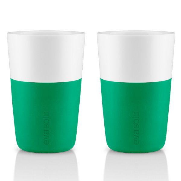 エバソロ evasolo 滑りにくいシリコンスリーブ付き マグカップ グリーン 360ml 2客セット 501006 【正規品】