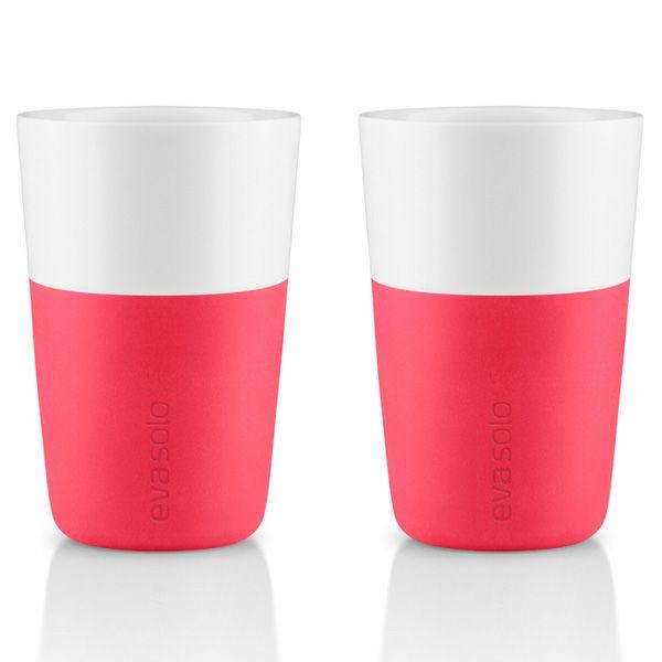 エバソロ evasolo 滑りにくいシリコンスリーブ付き マグカップ ピンク 360ml 2客セット 501009 【正規品】